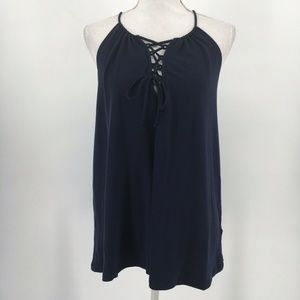 New RO & DE Top Lace Up Bust Tank Solid Navy Blue